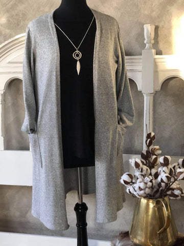 Soft Grey Melange Long Easy Open Cardigan with Pockets