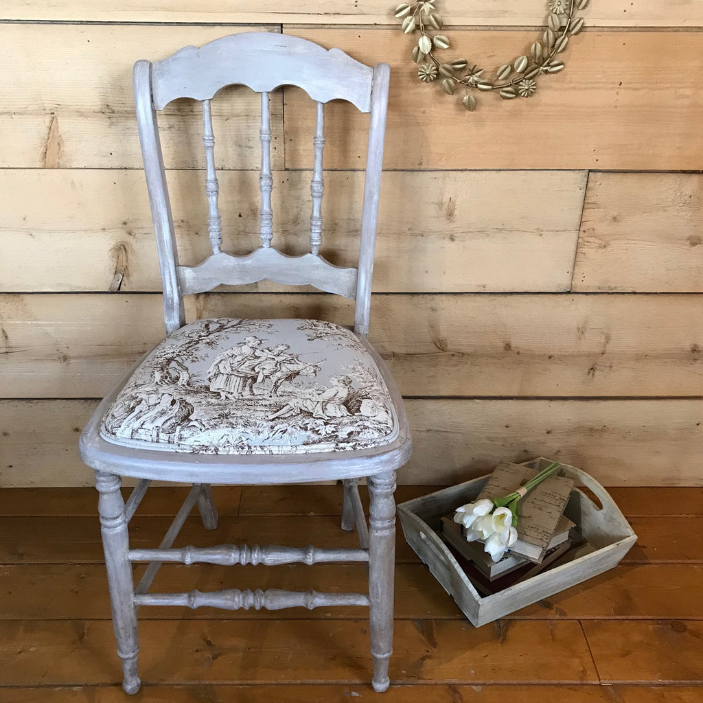Vintage Chair with Annie Sloan Normandy Fabric