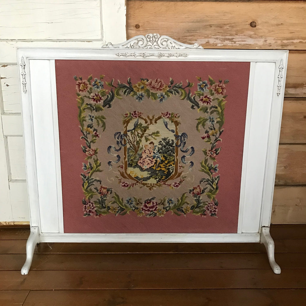Vintage Tapestry Fireplace Screen