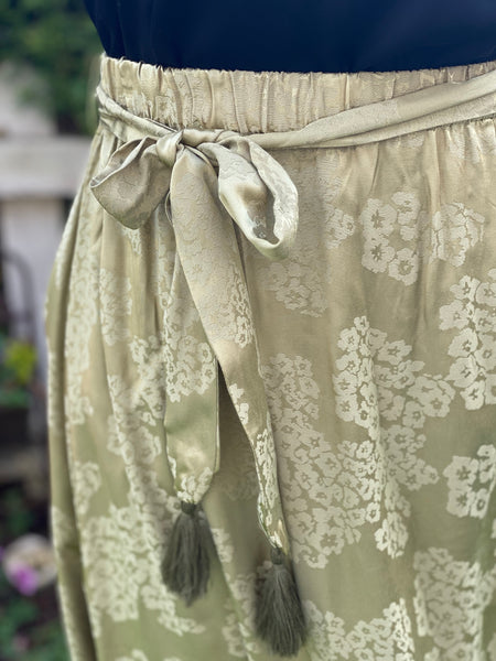 Tea Green Brocade Midi Skirt