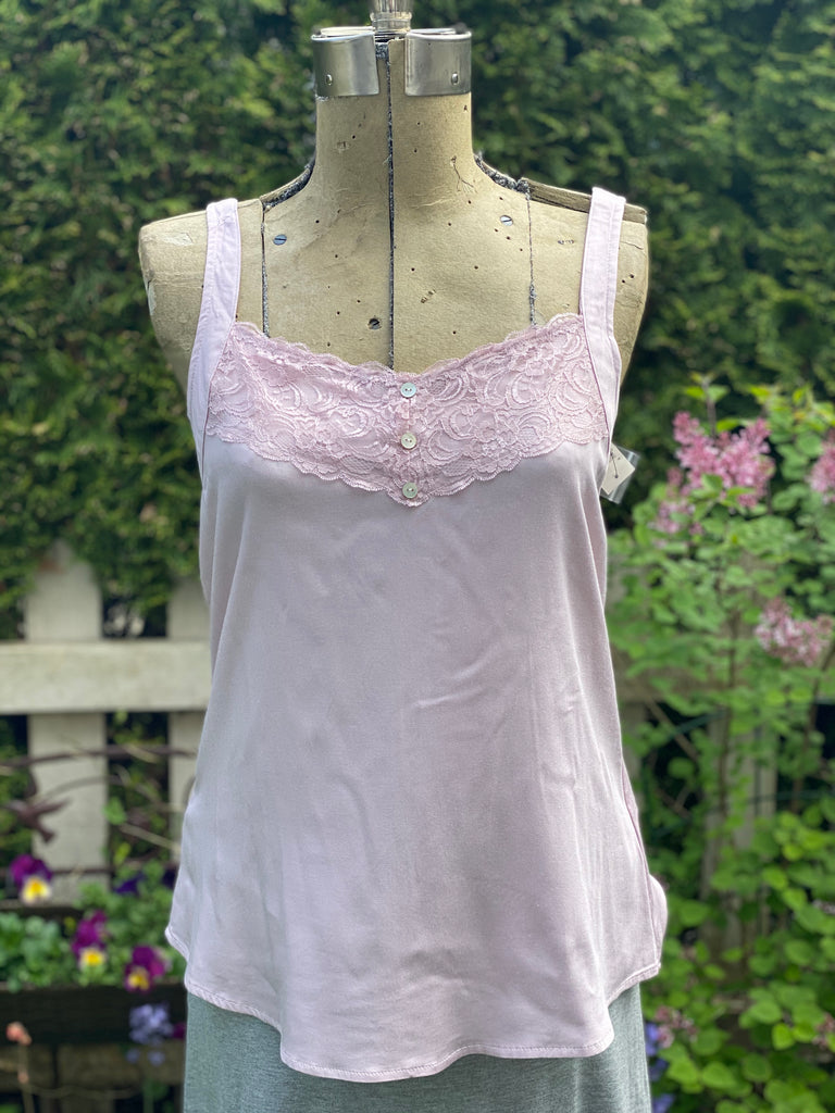 Pink Tank with Lace Detail