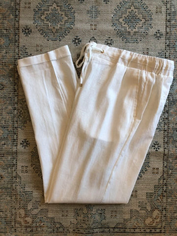 Cotton Blend, Linen Look Pant, White