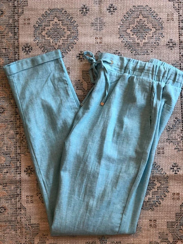 Cotton Blend, Linen Look Pant, Sky Blue