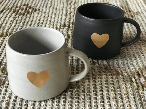 Ivory Mug with Gold Heart