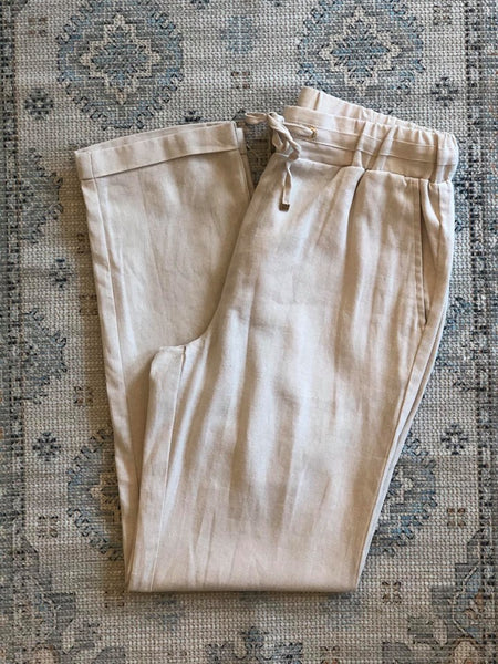Cotton Blend, Linen Look Pant, Natural