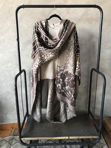 Paisley Cape in Animal Print Jaquard