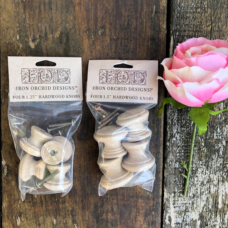 "Hardwood Knobs Pack of 4, 1.25"" - Iron Orchid Designs"