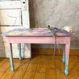 Lightened French Linen Accent Table - SOLD