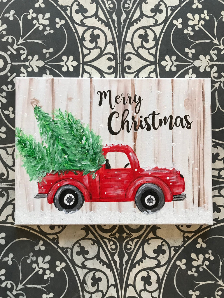 Vintage Christmas Truck Workshop With Chalk Paint Sit Sip And Pain The Passionate Home