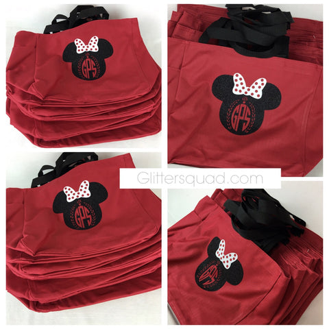 Large Minnie Personalized Glitter Monogram Tote