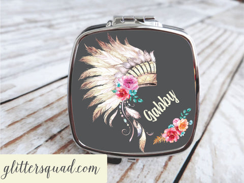 Boho  Roses & Feather Headdress - Compact Mirror - Personalized, Bridesmaid gifts