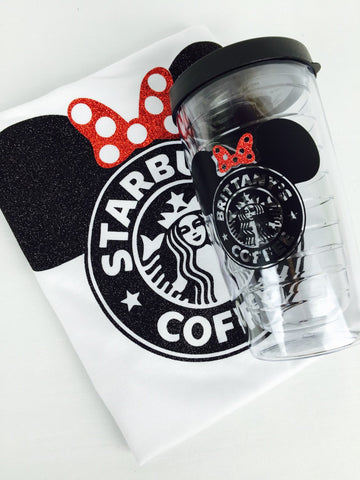 Minnie Starbucks Glitter Top. Baby - Adult Tanks Disney Trip Disneyland