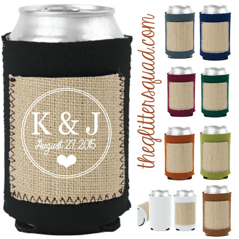 50 piece Dark Tones Burlap Can Coolers with Save the date Pockets
