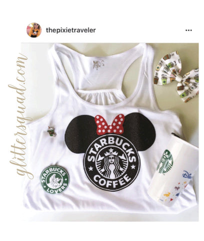Minnie Starbucks Glitter Tank Infant-Adult Tanks Disney Trip Disneyland