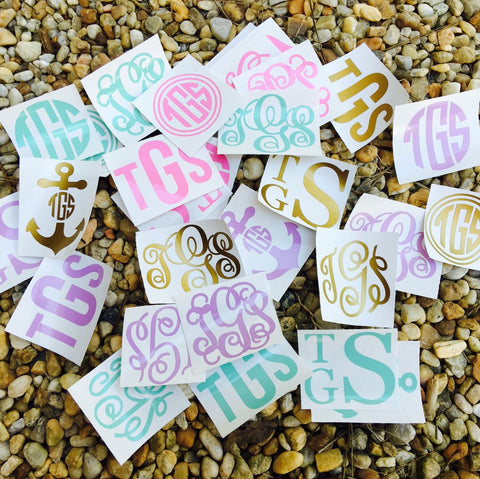 Solid Color Monogram Decal / Decals / Sticker / Stickers
