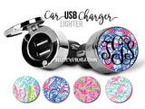 Monogram USB Car Lighter Charger  / Lilly Inspired Lighter Chargers