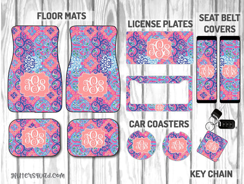 Lilly Pulitzer Behind the Gate Car Mat /Plate & Frame / Seat belt cover / Key Chain / Car Coaster / Car Accessory Gift  Set