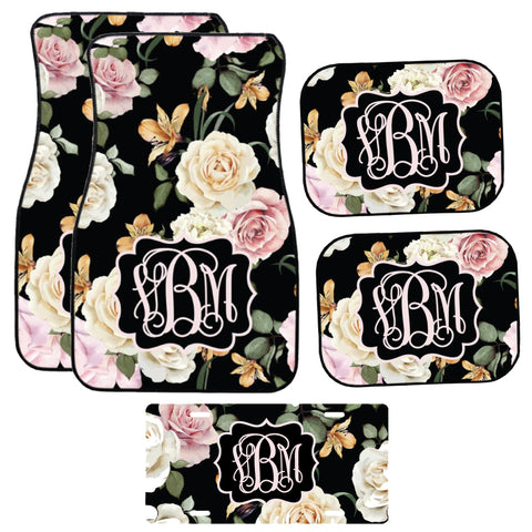 Black Floral Car Mat /Plate & Frame / Seat belt cover / Key Chain / Car Coaster / Car Accessory Gift  Set