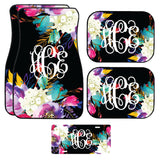 Black Neon Floral Car Mat /Plate & Frame / Seat belt cover / Key Chain / Car Coaster / Car Accessory Gift  Set