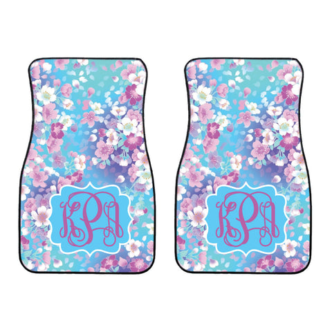 Blue Cherry Blossom Car Mat /Plate & Frame / Seat belt cover / Key Chain / Car Coaster / Car Accessory Gift  Set