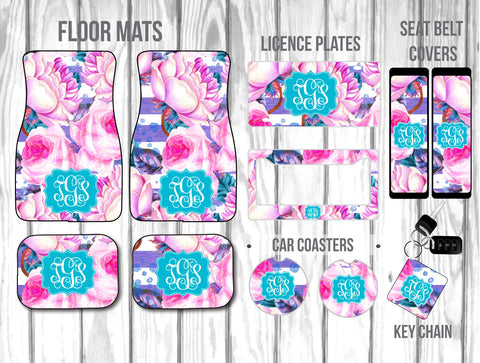Pink & Purple Watercolor Roses with Stripes Car Mat /Plate & Frame / Seat belt cover / Key Chain / Car Coaster / Car Accessory Gift  Set