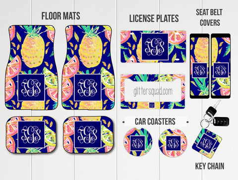 Navy Blue Pineapples Grapefruit & Limes Car Mat /Plate & Frame / Seat belt cover / Key Chain / Car Coaster / Car Accessory Gift  Set