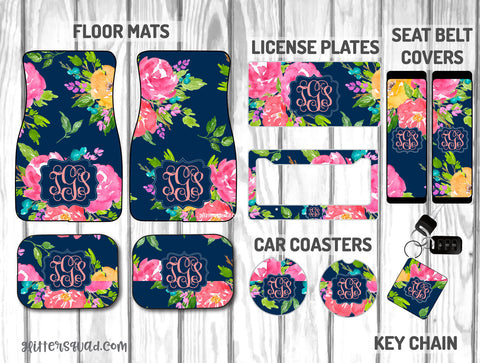 Navy Floral Watercolors Car Mat /Plate & Frame / Seat belt cover / Key Chain / Car Coaster / Car Accessory Gift  Set