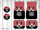 Peeking Minnie Mouse Car Mat /Plate & Frame / Seat belt cover / Key Chain / Car Coaster / Car Accessory Gift  Set
