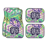 Green & Plum Floral Car Mat /Plate & Frame / Seat belt cover / Key Chain / Car Coaster / Car Accessory Gift  Set