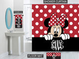 Peeking Minnie Mouse Bathroom Decor Gift Set Personalized Shower Curtain/Towels/Memory Foam Mat