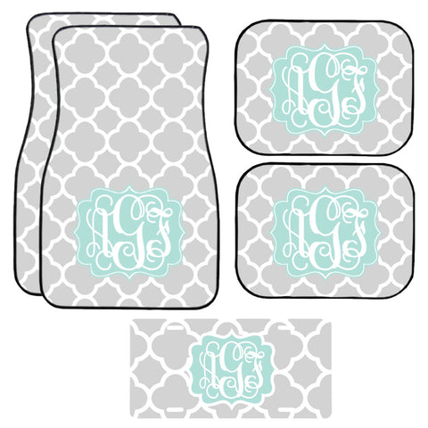 Grey Quatrefoil Car Mat /Plate & Frame / Seat belt cover / Key Chain / Car Coaster / Car Accessory Gift  Set