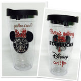 Black & Red Starbucks * Minnie Mouse * FRONT n BACK Latte  or coffee 24 oz Tumbler Personalized Glitter