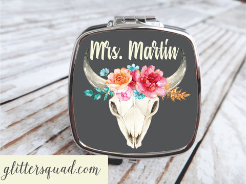 Boho Roses & Skull - Compact Mirror - Personalized, Bridesmaid gifts , Bride Tribe , Mrs.