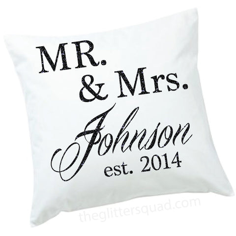 16 x 16, Personalized Glitter  Mr and Mrs White Canvas Pillow Cover