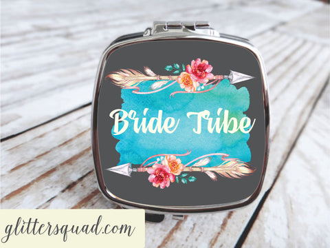Boho  Roses & Arrows - Compact Mirror - Personalized, Bridesmaid gifts , Bride Tribe