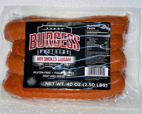 Burgess Brothers HOT Link Smoked Sausage 2.5 Pack