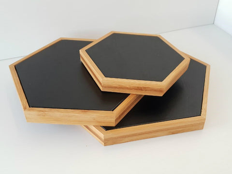 Jewellery Display Bamboo Hexagon Black Leatherette Set of 3
