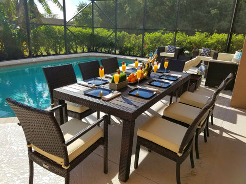 9 Piece Outdoor Wicker Dining Table With Chairs Set