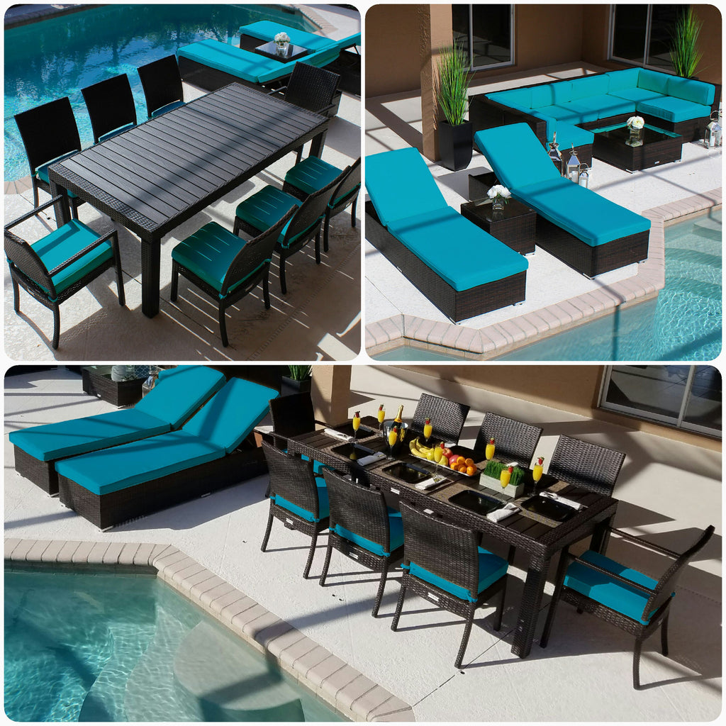 Piece Modern Outdoor Patio Furniture Sofa Sectional Chaise - Turquoise outdoor furniture