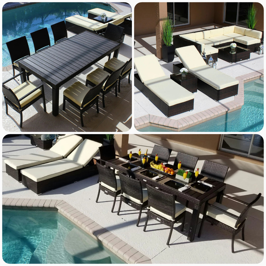 19 Piece Modern Outdoor Combination Furniture Set In Brown