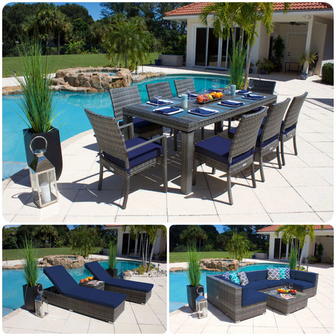 19 Piece Modern Outdoor Combination Furniture Set in Gray Wicker