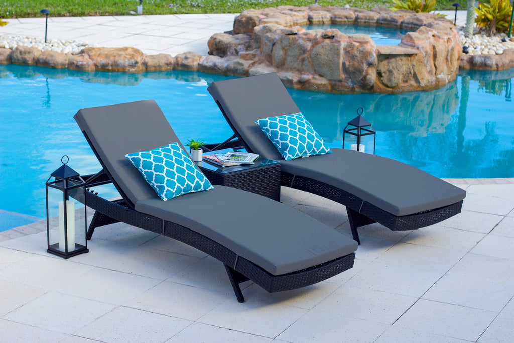 Nico 3 Piece Outdoor Chaise Lounge Chair Set in Espresso ...