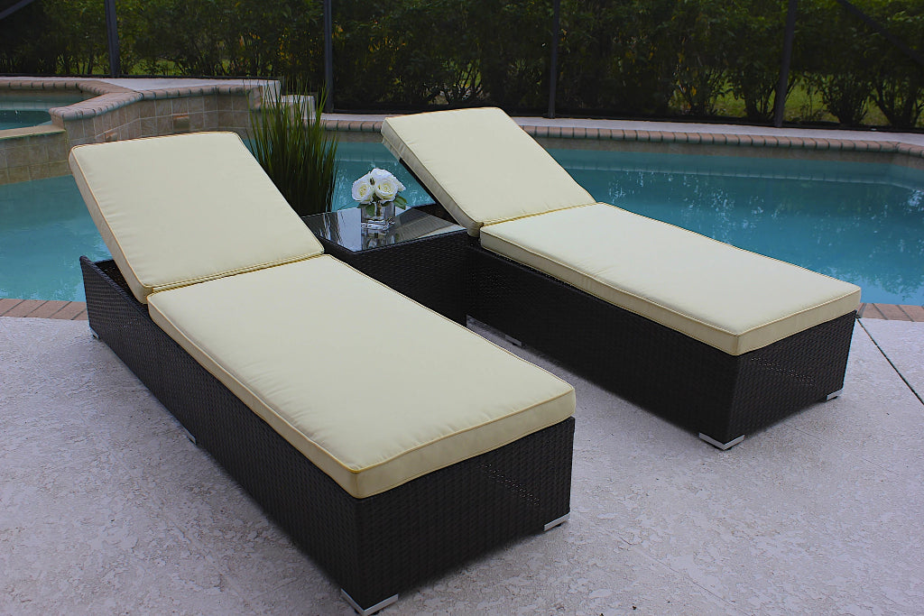 3 Piece Modern Chaise Lounge Chair Set In Brown Wicker Shop4patio Com