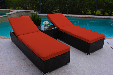 3 Piece Outdoor Modern Chaise Lounge Chair Set in Brown Wicker