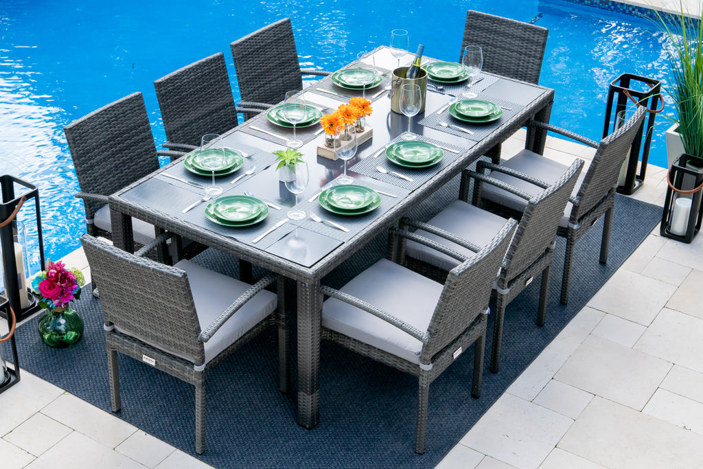 Bari 9 Piece Outdoor Dining Set In Mixed Gray Shop4patio Com