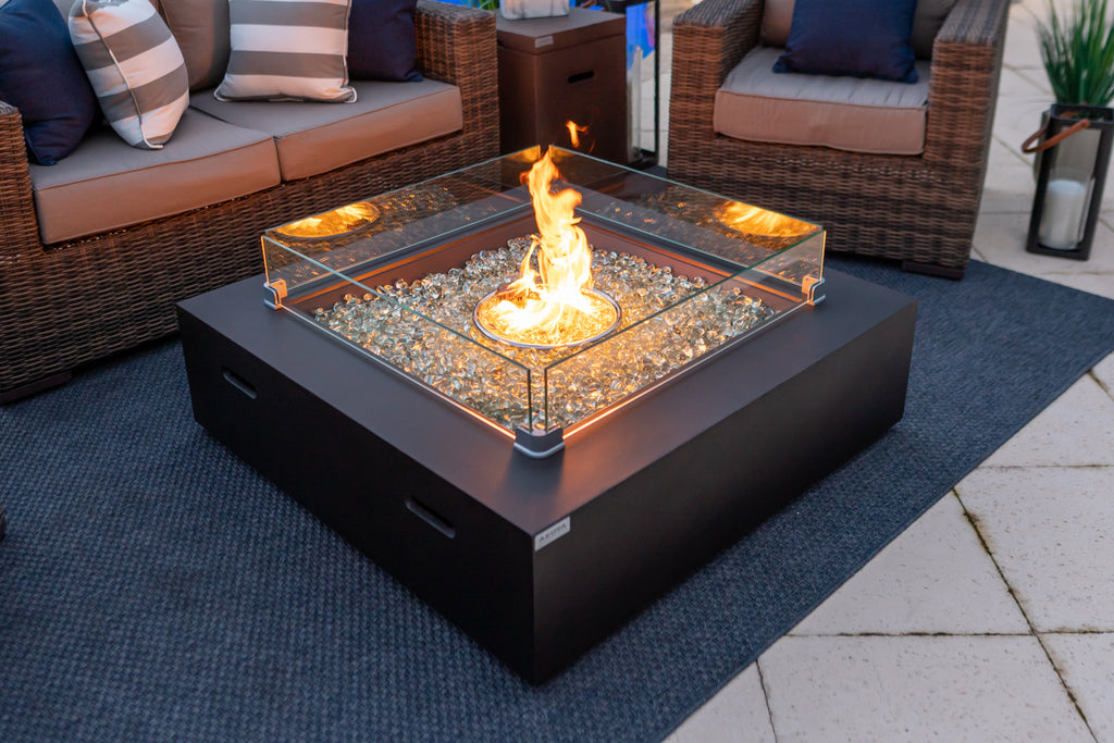 Image of: 42 X 42 Square Outdoor Propane Gas Fire Pit Table In Brown Shop4patio Com