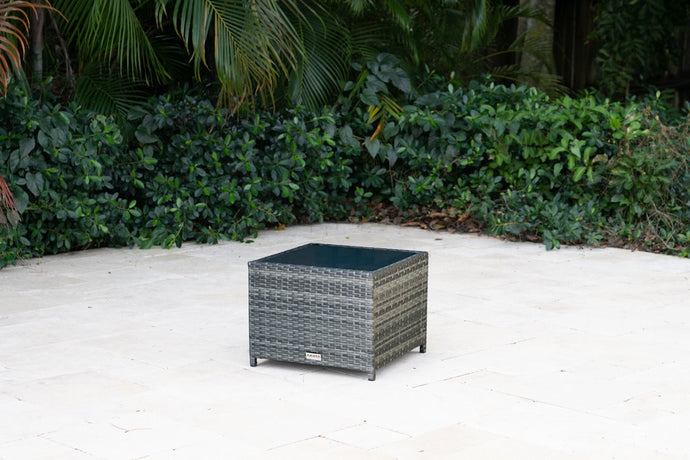 Bari Outdoor Side Table in Mixed Gray
