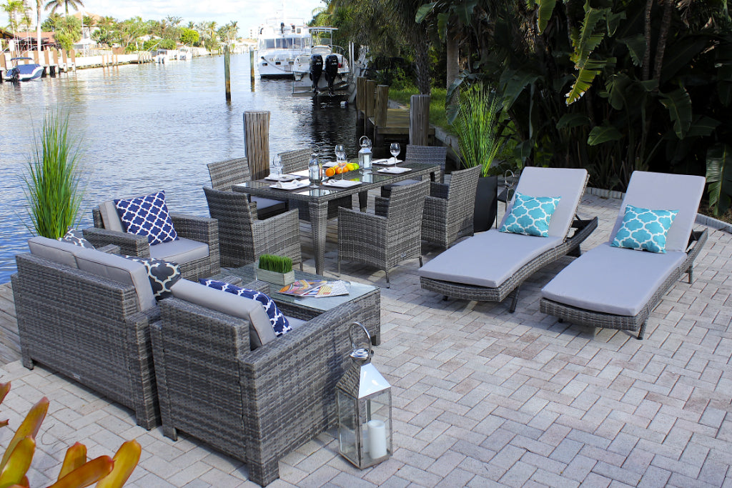 13 Piece Combination Outdoor Furniture Set In Gray Wicker