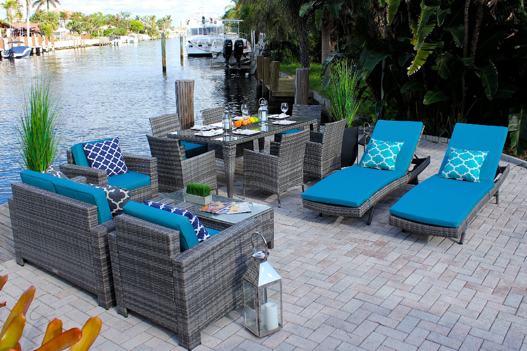 Magnificent 13 Piece Combination Outdoor Furniture Set In Gray Wicker Beutiful Home Inspiration Truamahrainfo