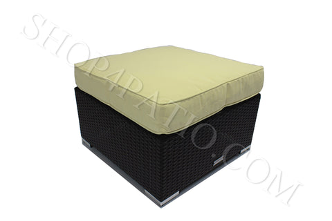 Modern Outdoor Small Ottoman in Brown Wicker
